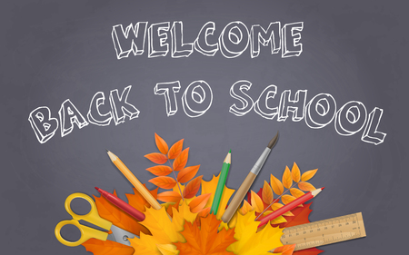 School supplies and maple leaves on black on black chalkboard background. Welcome back to school background with space for advertising text.