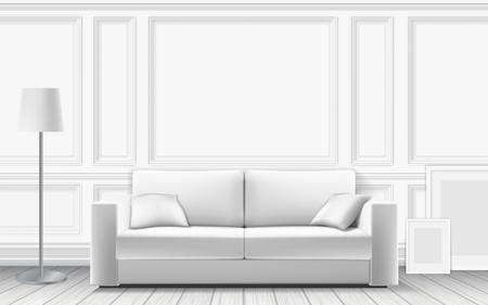 Modern sofa on background of white wall decorated with moulding panels. Parquet floor and white wall. Vector detailed realistic illustration.
