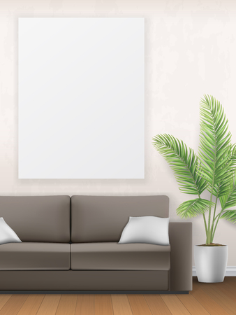 Mockup of the interior with sofa, palm tree and poster on wall. Living room.