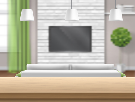 View on living room with sofa and tv through the wooden bar table. Bright interior with a brick wall and a window with a green curtain. Living room with sofa tv and wooden bar table. Vector image with blur, defocus effect. Illustration