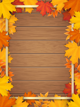 Golden frame decorated of fallen maple leaves. Autumn foliage on the background of a wooden vintage table surface. Realistic vector. Template for a seasonal sale, invitation or advertisement card. Illustration
