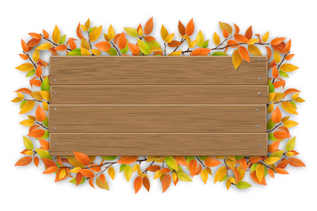 Empty wooden sign with space for text on a background of tree branches with aunumn color leaves. The template for a banner or an advertisement for a seasonal discount.