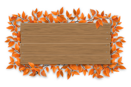 Empty wooden sign with space for text on a background of tree branches with aunumn red leaves. The template for a banner or an advertisement for a seasonal discount.