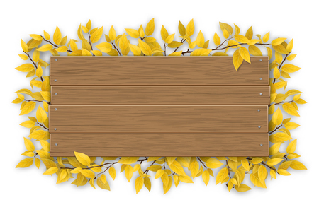 Empty wooden sign with space for text on a background of tree branches with aunumn yellow leaves. The template for a banner or an advertisement for a seasonal discount. Illustration