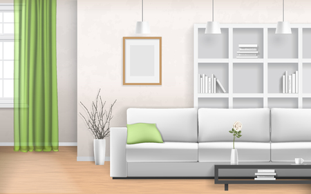 Living room interior with sofa, window, bookshelves and picture frame. Realistic vector illustration in 3d style.