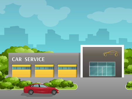The building of auto repair. Car service station. Vector in flat flat style.