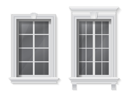 A window in a classic frame with a pediment and trim. Element of architectural decoration of the facade of the building.