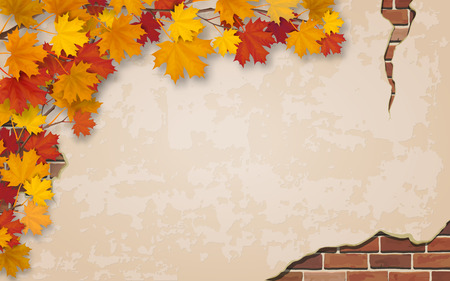 Autumn maple branch on weathered wall background with brick masonry.  Vector realistic illustration. Plastered wall and brickwork in cracks.