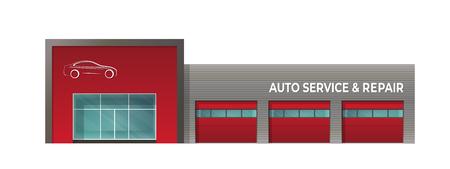 Het bouwen van autoservice-reparatie. Geïsoleerde afbeelding op een witte achtergrond Vector Illustratie