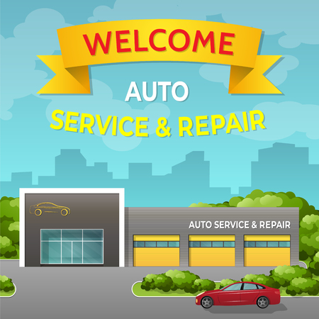 The building of auto repair. Car service station. Vector in flat style.