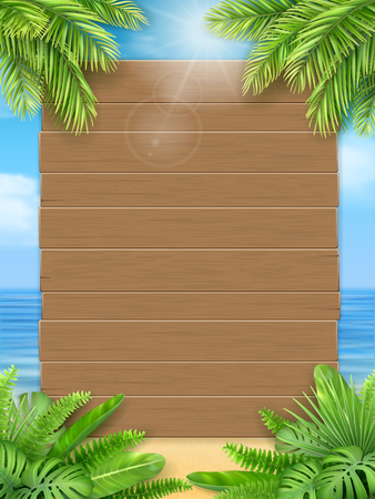 Wooden sign and tropical leaves on a background of a sea beach. Background for an invitation to a summer party or an advertising poster for discounts. A design template for the vacation offer. Illustration