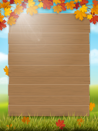 Wooden sign and maple branches on rural landscape background. Vector template for design fall seasonal card or invitation on harvest festival. Flyer about the autumn discount or sale.