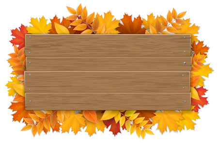 Empty wooden sign with space for text on a background of maple tree leaves. The template for a banner or an advertisement for a autumn seasonal discount. Illustration