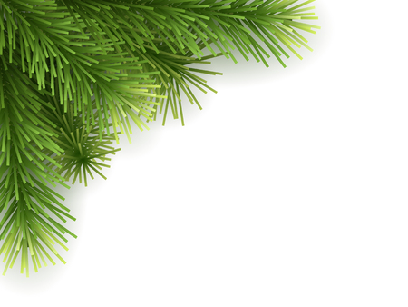 Artificial Christmas tree branch green. Background for Happy new year or xmas greeting card. Illustration