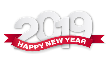 Happy new year 2019. Paper numbers with text on red ribbon. Vector template for greeting card, invite card or flyer with sale promotion.