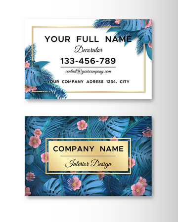Business card with blue tropical leaves. Template in tropical style.