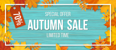 Autumn sale. Fallen maple leaves, frame and typographics on wooden background. Template for invitation, discount offer or flyer. Realistic detailed vector.