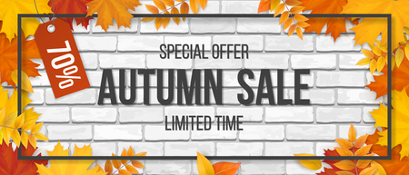 Autumn sale. Fallen maple leaves, frame and typographics on white brick wall background. Template for invitation, discount offer or flyer. Realistic detailed vector.