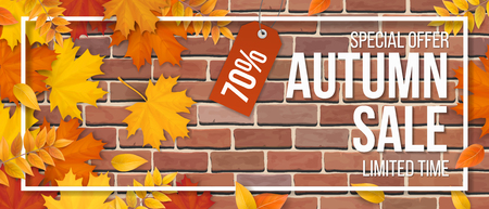 Autumn sale. Fallen maple leaves, frame and typographics on red brick wall background. Template for invitation, discount offer or flyer. Realistic detailed vector.