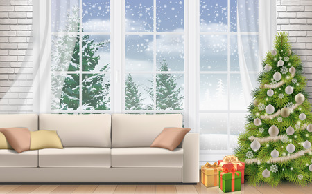 Christmas interior of living room. Sofa on white brick wall background. Decorated Christmas tree and gift boxes. Winter landscape outside the window. Illustration