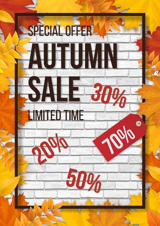 Autumn season sale card. Fallen colorful maple leaves on white brick wall background, frame and typographics. Template for invitation, discount offer or flyer. Realistic detailed vector. Illustration