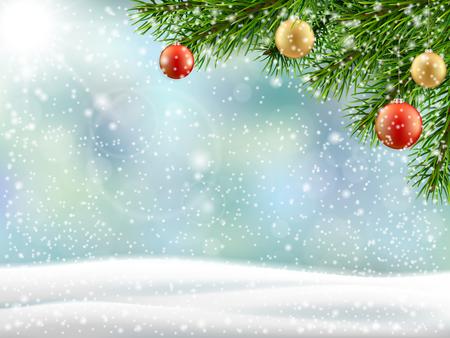 Christmas tree branch on winter landscape