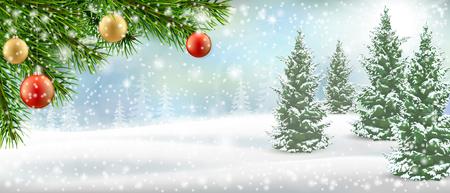 Weihnachtsbaumast auf Winterlandschaft