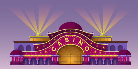 Facade of a casino building. Entrance to the gaming house. Vector illustration about gambling industry.