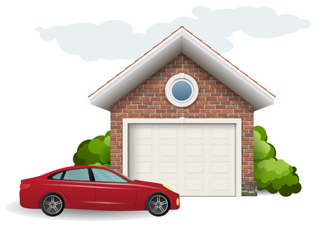 Brick garage and car. Vector image on isolated