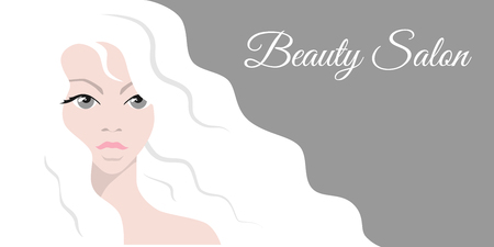 Beautiful woman with white hair. Stylish design for beauty salon flyer or banner Illustration