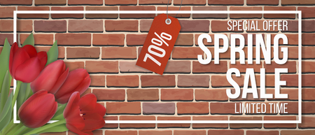 Spring sale. Red tulip flowers, typographic and frame on red brick wall background. Background for invitation, discount offer or flyer. Realistic detailed vector template.