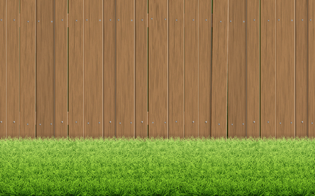 Grass lawn and brown wooden fence. Back yard country house. Rural scenery. Spring background vector illustration.