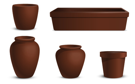 A set of flowerpots of different shapes. Elements for home and garden design.