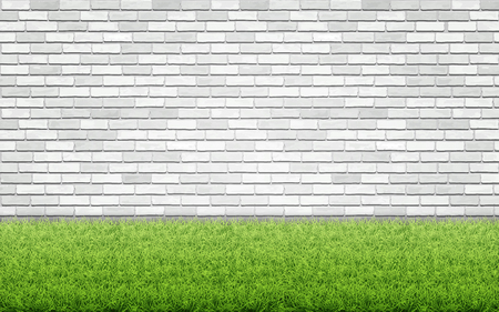 Green grass lawn on white brick wall background. Spring card blank. Backyard or front garden. Ilustrace
