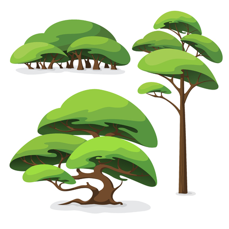 Set of cartoon stylized tree and bush. Elements of urban or nature landscape.