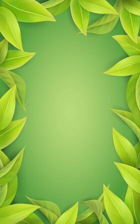 Vertical spring green background. Frame of green juicy leaves. Place for the text of the invitation. Vector spring image.