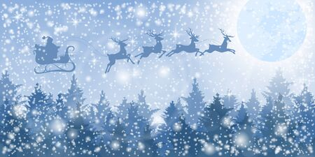 Christmas background. Santa Claus on a sled with deer flies over the winter forest.