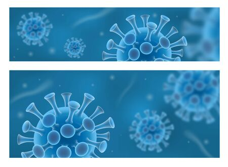 Coronavirus 2019-nCov blue banner set.