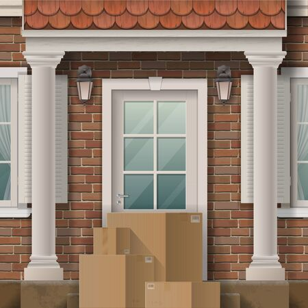A pile of parcels in front of the house entrance near front door. Vector illustration on the topic of online commerce and delivery.