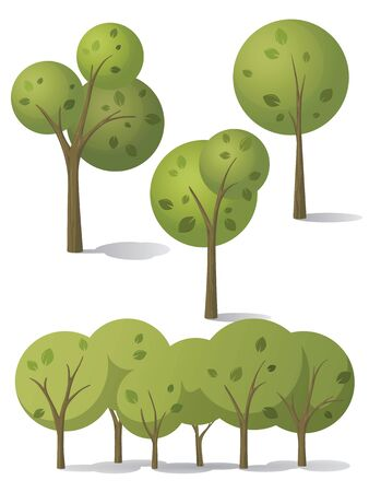 Set of vector trees in carton style. Green trees with different shape of the crown. Stock Illustratie