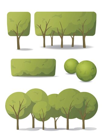 Set of vector trees in carton style. Green trees and bushes with different crown shapes.