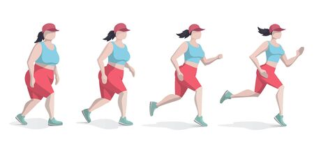 Fat woman lose weight while running or jogging. Running girl is loosing weight. Woman Body Transformation Concept. Isolated flat vector illustration