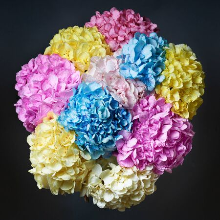 Bouquet of colored flowers peonies on a black background.