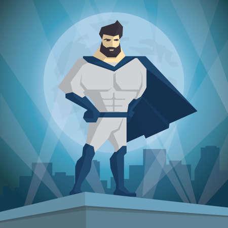 Superhero. Hero on the background of the night city. Stock Illustratie