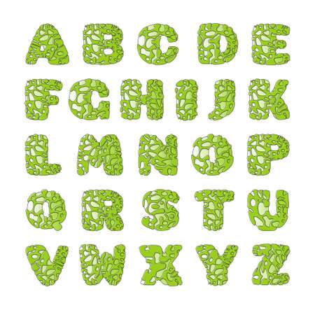 Green font with holes that looks like slime. Cheerful letters for the decoration of children's illustrations. Stock Illustratie