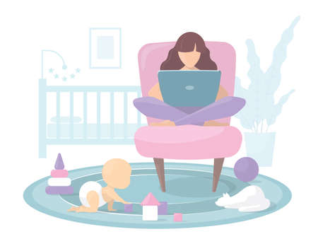 Young mom working from home at the computer. The child plays on the floor with toys and bloks. The cat is sitting on the carpet. In the background is a bed and a home flower. Vector flat illustration.