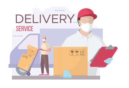 Delivery service during a virus pandemic. Stock Illustratie
