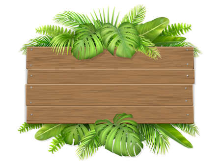 Empty wooden sign decorated with tropical leaves. Billboard with a place for advertising or invitations. Stock Illustratie