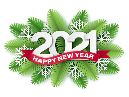 2021 numbers and red ribbon with Happy New Year text on Christmas tree branches background. Element for design greeting card.