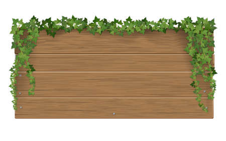 Wooden signpost covered of ivy sticks. The template with blank space for text. 矢量图像
